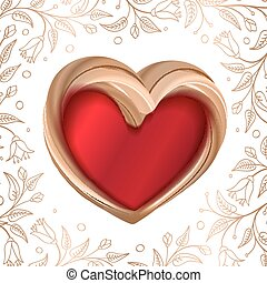 Valentines background abstract golden heart on red -...