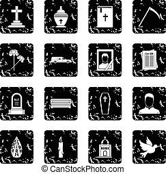 Funeral icons set in grunge style isolated on white...