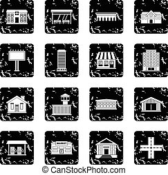 City infrastructure items icons set in grunge style isolated...