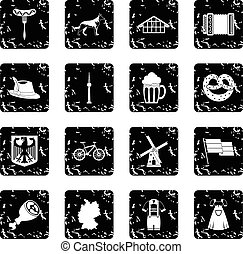 Germany icons set in grunge style isolated on white...