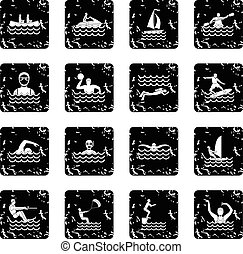 Water sport icons set in grunge style isolated on white...