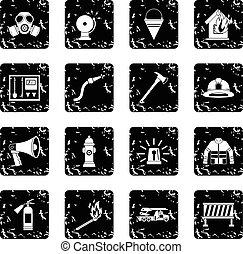 Fireman tools icons set