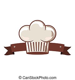 silhouette of chefs hat rounded and ribbon vector...