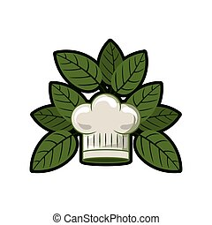 silhouette of chefs hat rounded with leaves vector...