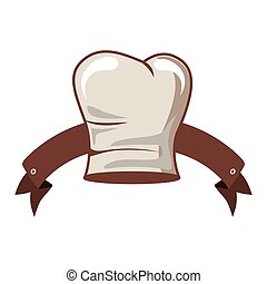 silhouette of chefs hat elongated and ribbon vector...