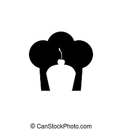 black silhouette with chefs hat and cupcake vector...