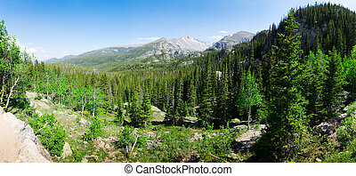 Rocky mountains landscape panoramic view at Estes Park,...