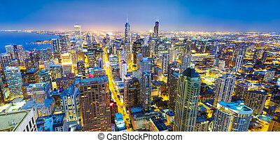 Panorama Chicago cityscape at coast, night view, Illinois...