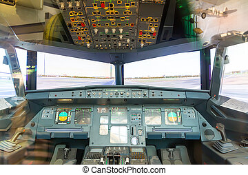 cabaña, dentro, avión, piloto