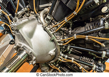 Old aircraft engine. Internal structure of plane motor. Old...