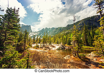 Nature landscape with lake and rocky mountains at Estes...