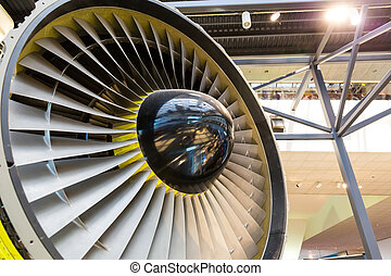 Jet engine blades closeup. Airplane turbine