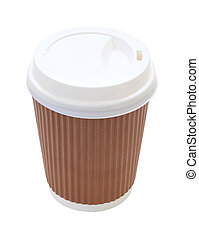 Cover side coffee cup and heat insulation on white...