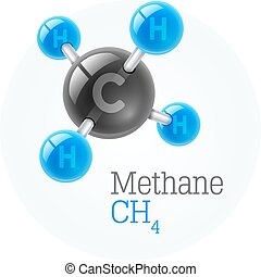Physical chemical molecule model of gas methane. Assembly...