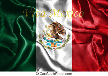 Mexican National Flag With Eagle Coat Of Arms 3D Rendering -...