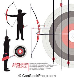 Archery sport silhouettes illustration vector