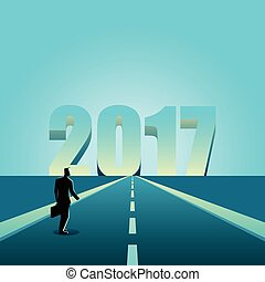 Businessman walking towards the year 2017