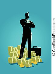 Businessman standing with a lot of money underneath him -...