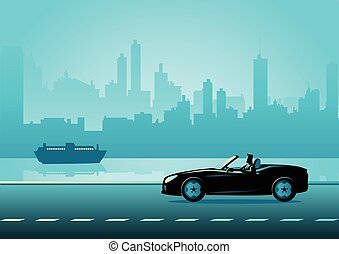 Businessman driving a convertible luxury car - Business...
