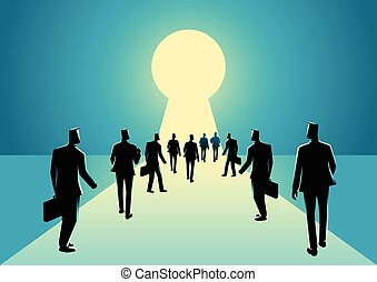 Businessmen walking into keyhole with bright light