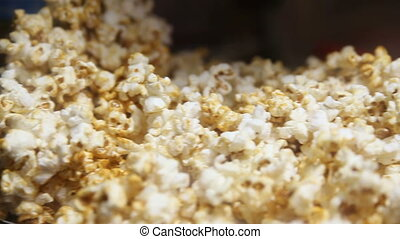 A pile of roasted popcorn