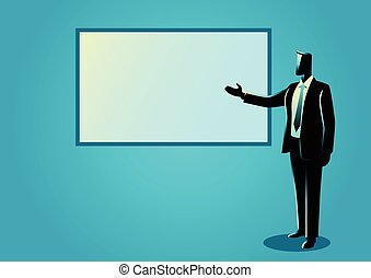 Businessman giving a presentation on white board - Business...