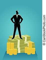 Businessman standing on money - Business concept...