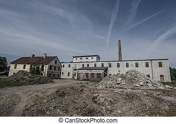dilapidated old factory before the demolition
