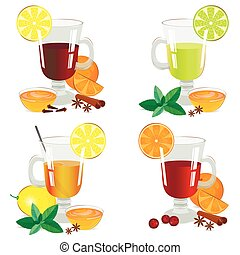 Set of isolated hot drinks vector illustration. - Set of...