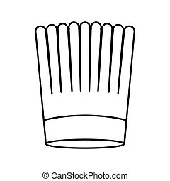 contour of chefs hat striped vector illustration