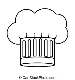 contour of chefs hat stripeds vector illustration