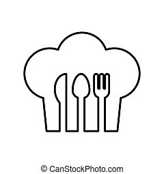 contour of chefs hat with cutlery vector illustration