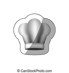 realistic silhouette sticker of chefs hat vector...