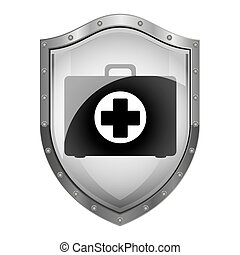 metallic shield with first aid kit