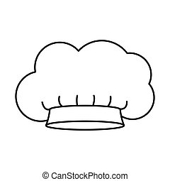 contour of chefs hat in cloud shape vector illustration