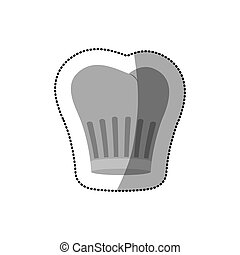 dotted sticker of chefs hat shading vector illustration