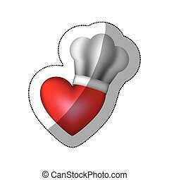 realistic silhouette sticker of chefs hat with heart vector...