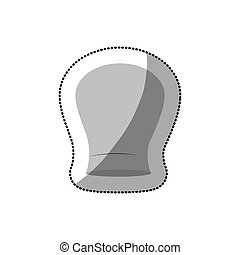 dotted sticker of chefs hat shading and rounded vector...