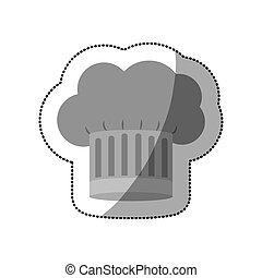 dotted sticker of chefs hat shading with stripeds vector...