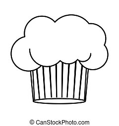 contour of chefs hat in cake shape vector illustration