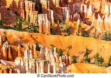 Top view of sandstone mountains at Bryce Canyon