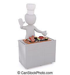Dish is ready concept - Faceless cartoon character of chef...