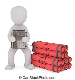 Cartoon man holds circuit board remote detonator wired to...