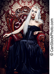 the black queen - Beautiful gothic woman with long blonde...