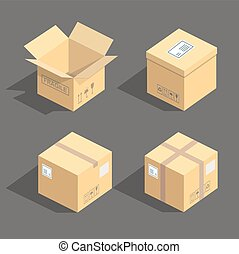 Vector isometric cardboard boxes packaging icons isolated...