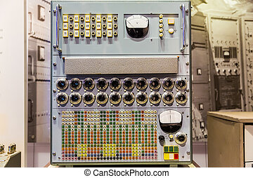Panel of old calculating machine in computer museum USA