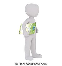 3d toon carrying green plastic bag - Full body 3d toon...