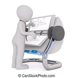 3D man reading notes in rolodex - Figure of little 3D man in...
