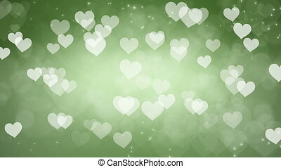 Abstract Hearts Bokeh Green Background.
