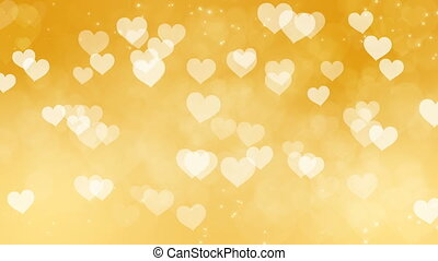 Abstract Hearts Bokeh Gold Background.